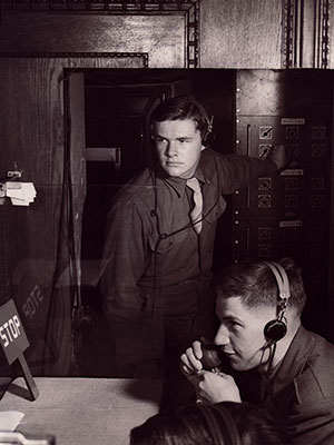 Recording the sound from the Nuremberg trial.